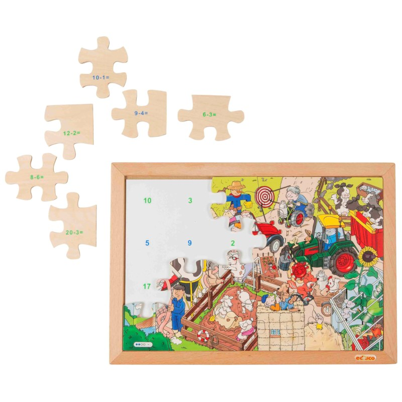 Math puzzle up to 20 - subtraction